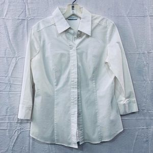 New York & co. White Womens Button Down Shirt SZ M